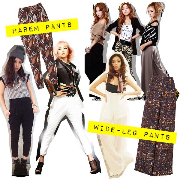 september 2013 gyaru fashion trends harem and wide leg pants