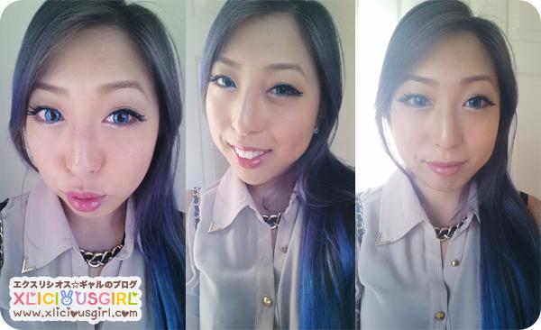 purple hair dye color asian gyaru long hair ombre